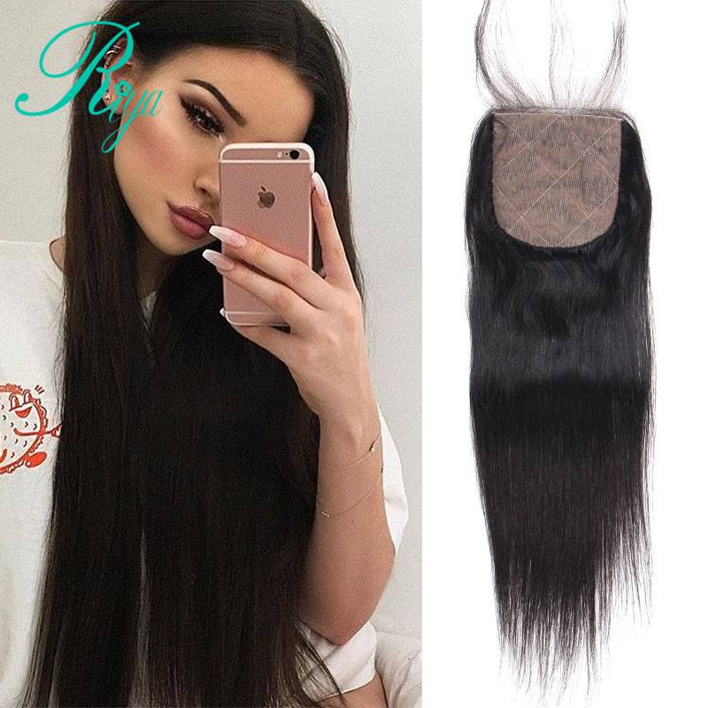Riya Hair Silk Base Closure Brazilian Straight Human Hair 4x4 Middle Brown Lace Bleached Knots With