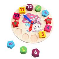 Crianças brinquedos de madeira coelho modelo digital relógio quebra-cabeça brinquedos montessori educação precoce brinquedos para crianças