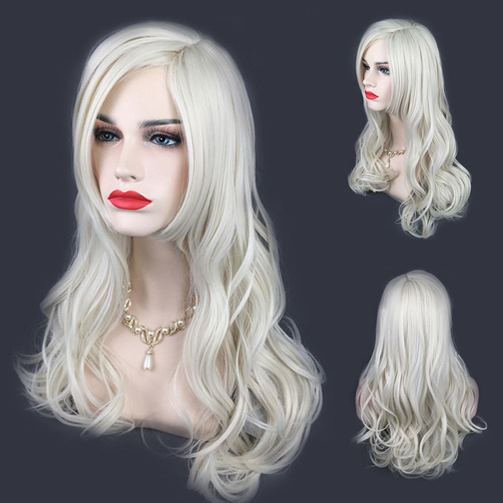 Long Silver White long wigs for women Similar to full lace wigs human hair Similar to with baby hair wigs synthetic hair 6623A