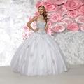 2017 nuevo amor de la llegada plateado con cuentas rhinestones brillantes vestidos de bola sweet 16 vestidos del quinceanera blanco