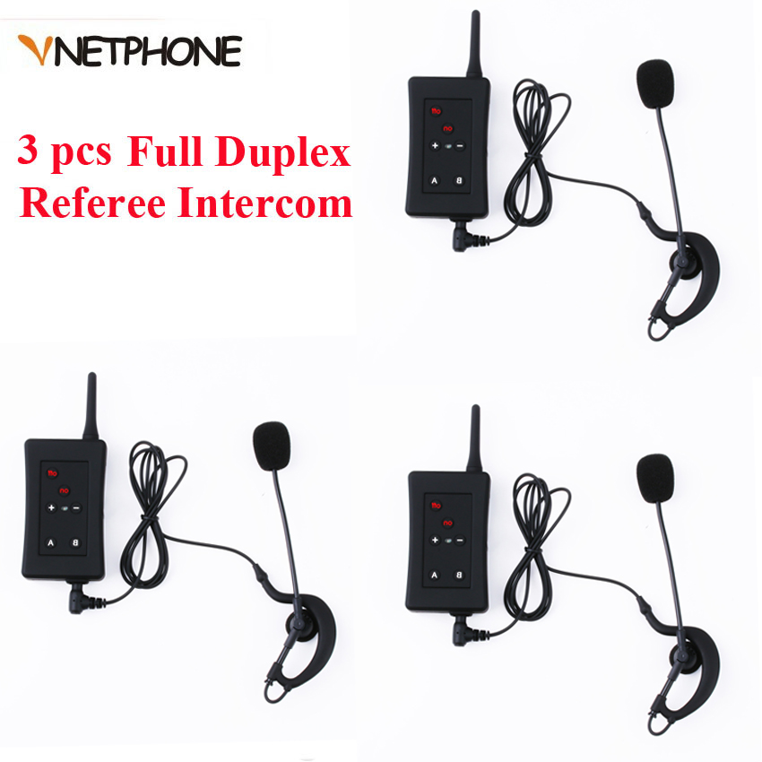 Referee Headset Motorcycle Intercom Soccer Football Bluetooth Full Duplex Vnetphone 3pcs