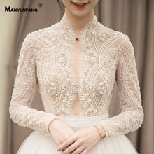 MANYUNFANG High Neck Full Design Long Sleeve Wedding Dress