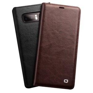 Image 1 - QIALINO Moda Copertura del Cuoio Genuino per Samsung Galaxy Note 8 Slot Per Schede di lusso Ultrasottile Della Cassa del Sacchetto per Galaxy note 8 6.3 inch