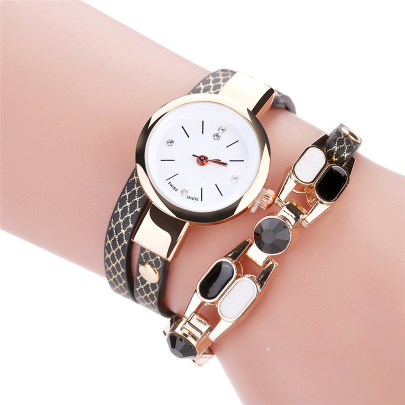 Duoya Brand Women Quartz Wristwatch Fashion Ladies Dress Leather Band Women Bracelet Dropshipping Luxury Casual Vintage Watch 39 duoya brand bracelet watches for women luxury gold crystal fashion quartz wristwatch clock ladies vintage watch dropshipping