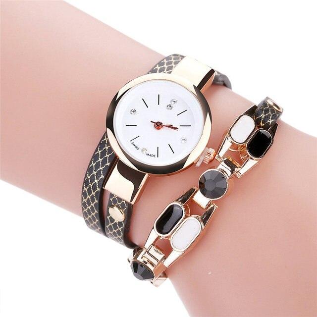 Duoya Brand Women Quartz Wristwatch Fashion Ladies Dress Leather Band Women Brac