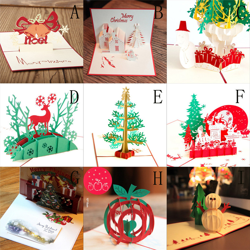 Christmas Greeting Cards Handmade.Us 0 73 34 Off 3d Pop Up Greeting Card Handmade Happy Birthday Merry Christmas Card Gifts L4 In Cards Invitations From Home Garden On