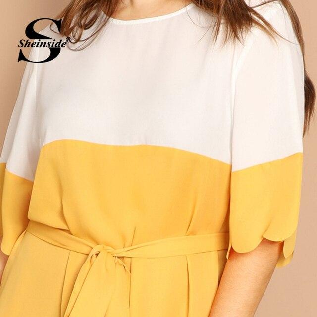 Sheinside Plus Size Scallop Trim Patchwork Dress Women 2019 Spring Elegant Belted Midi Dresses Casual Half Sleeve Straight Dress 3