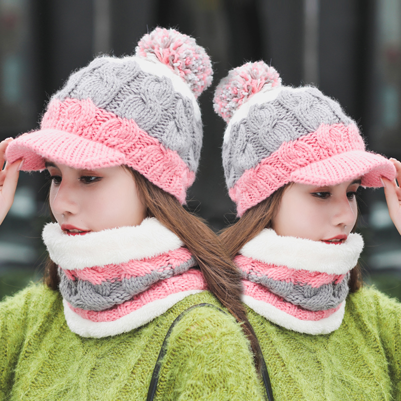 Hot Selling Women 2pcs Ski Cap And Scarf Cold Warm Winter Hat For Lady Girl Knitted Hat Bonnet Warm Cap Skullies Beanies