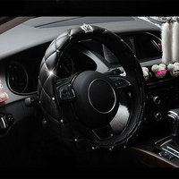 38cm Luxury Crystal Crown Studded Rhinestone Car Styling PU Leather Car Steering Wheel Cover Diamond Steering