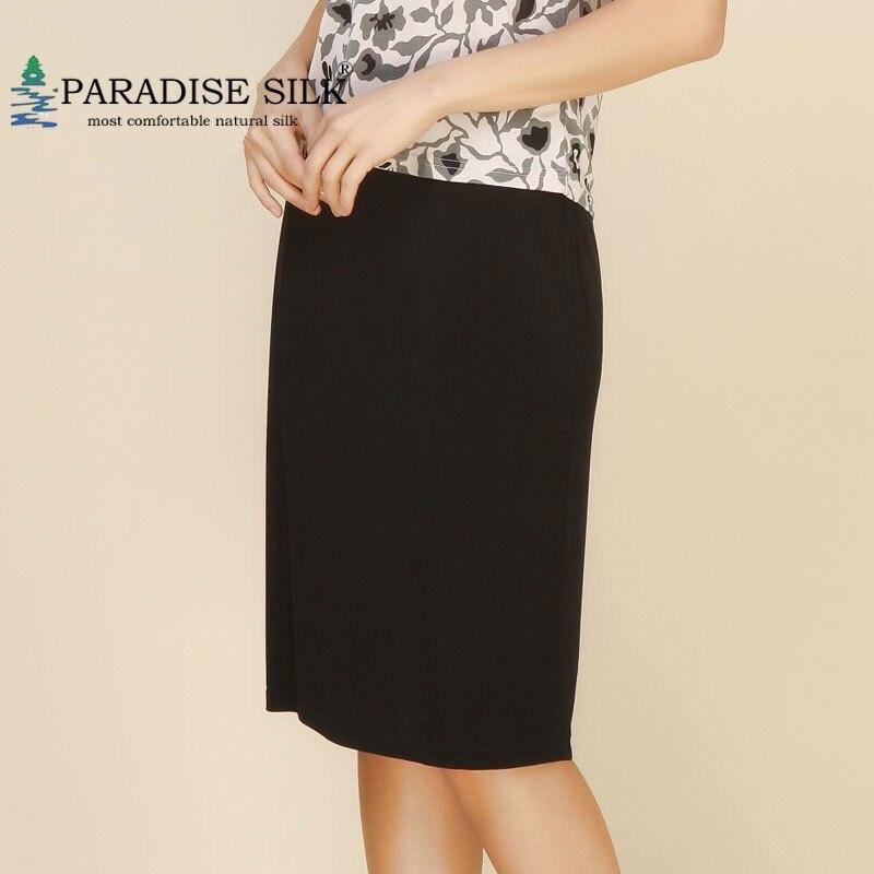 Falda elástica para Mujer Faldas de cintura 100% de seda pura de punto negro A Line media faldas Moda Mujer talla L XL XXL-in Faldas from Ropa de mujer    1