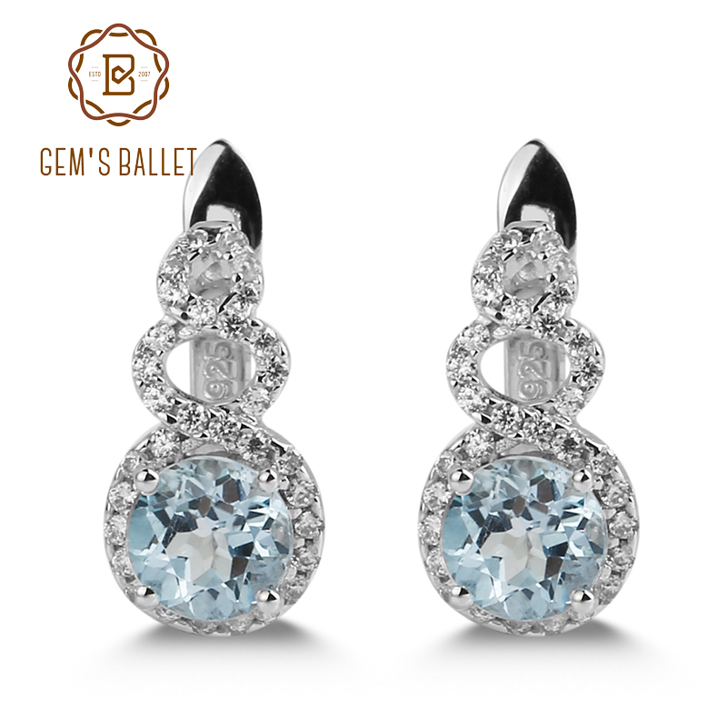 Gems Ballet 2.10Ct Round Natural Sky Blue Topaz Gemstone Clip Earrings 925 Sterling Silver for Women Gift Fine Jewelry