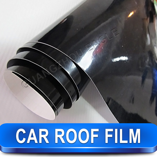 1.35*15m Best Quality Car Roof Wrap Film Black Sticker Gloss Vinyl  Panoramic Car Wrapping
