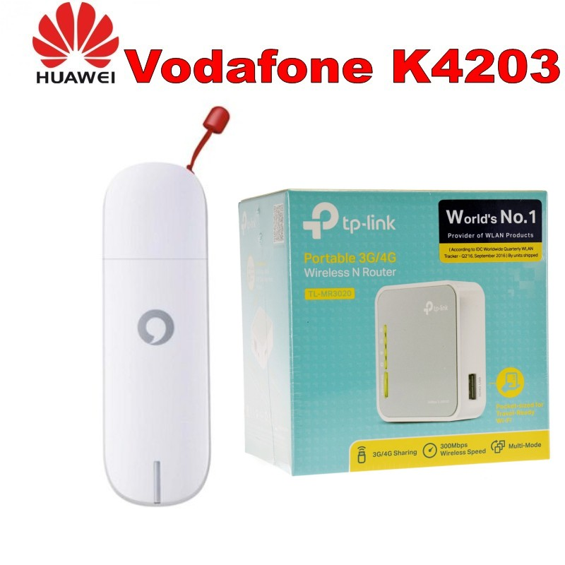 Vodafone 3G USB Huawei K4203 Modem haut débit Mobile Dongle + tp-link TL-MR3020 150 Mbps 1-Port 10/100 routeur sans fil N