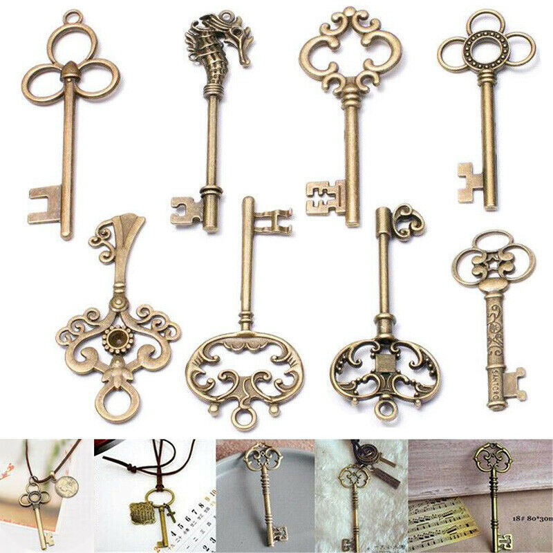 Fancy Decor Craft Skeleton-Keys-Pendant Vintage Antique Jewelry Gifts 8pcs Necklace Old-Look