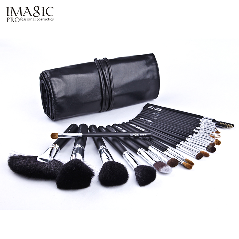 IMAGIC 24Pcs/Set Black Makeup Brushes Set Make Up Professional Brush Tools kit Foundation Powder Eyeshadow Lip Brush Tool beauty 24pcs professional makeup natural wooden handle brushes set foundation blending brush tool make up brushes with bag sponge puff
