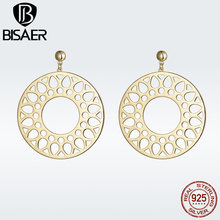 BISAER Gold Color Bohemia Round Drop Earrings for Women Fashion macreme Ethnic Holiday Jewelry Brincos GSE185
