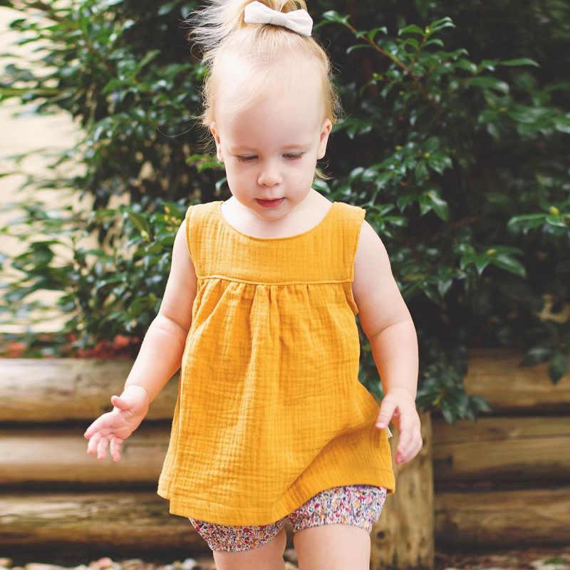 Мини-платье для маленьких девочек хлопковый и Конопляный материал, Летнее Детское платье для девочек детская одежда Одежда для куклы Lol