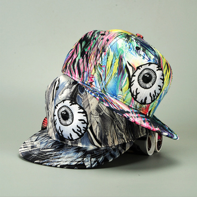 2016 new embroidery pattern baseball cap with big eyes Funny multicolored cap hip-hop hat men and women of color