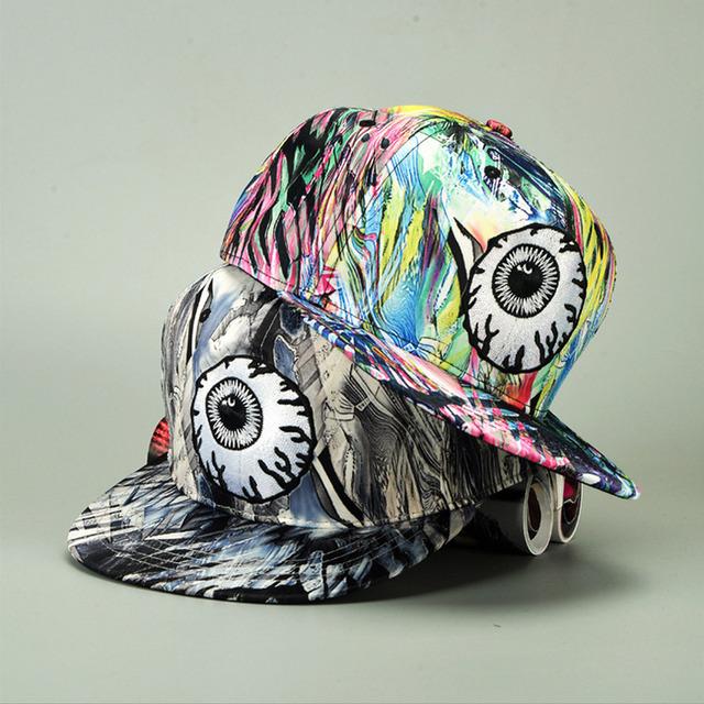 2016 novo padrão de bordado boné de beisebol com grandes olhos Engraçados multicolorido cap hop chapéu homens e mulheres de cor