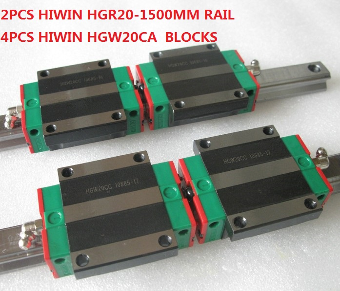 все цены на 2pcs Hiwin linear guide HGR20-1500MM + 4pcs HGW20CA linear flanged blocks for cnc онлайн
