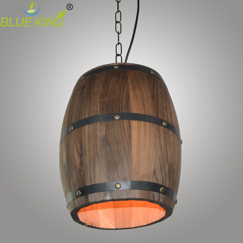 American Country Loft Wood Wine Barrel Hanging Fixture