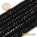 "Rondelle Faceted AA Grade Black Agate Beads Natural Stone Bead DIY Beads For Jewelry Making Strand 15"" Wholesale !"