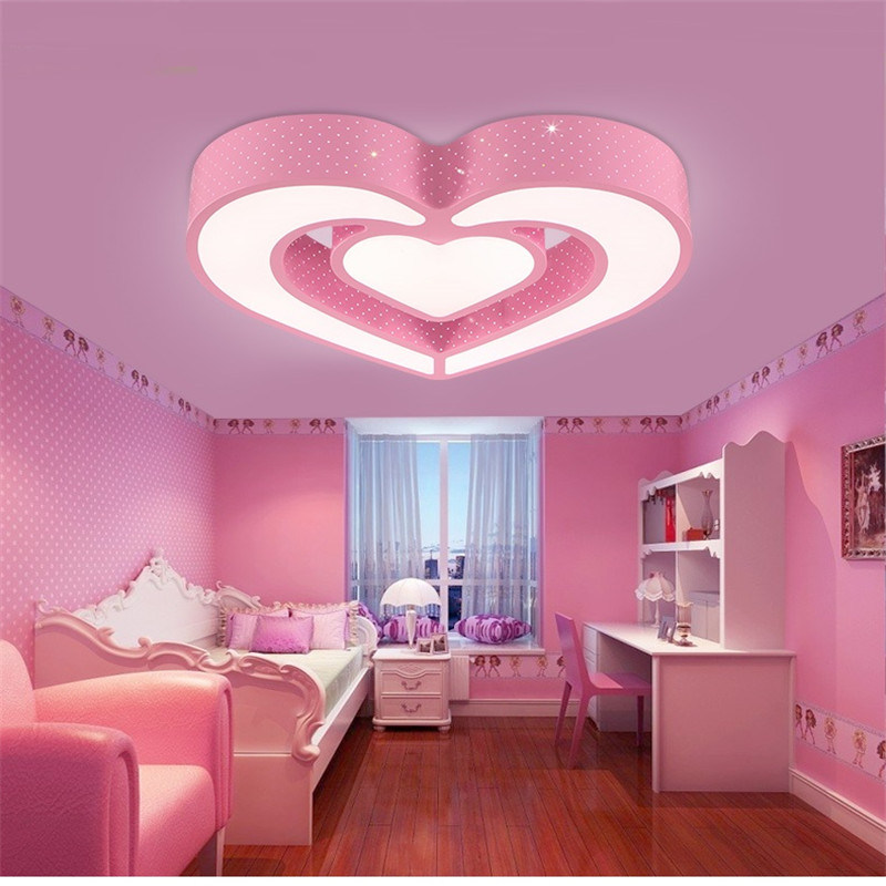 163 76 Chambre Lumiere Chambre D Enfant Led Plafonnier Creatif Dessin Anime Coeur Belle Chambre Fille Chambre Soin Des Yeux Plafonnier Za81730 In