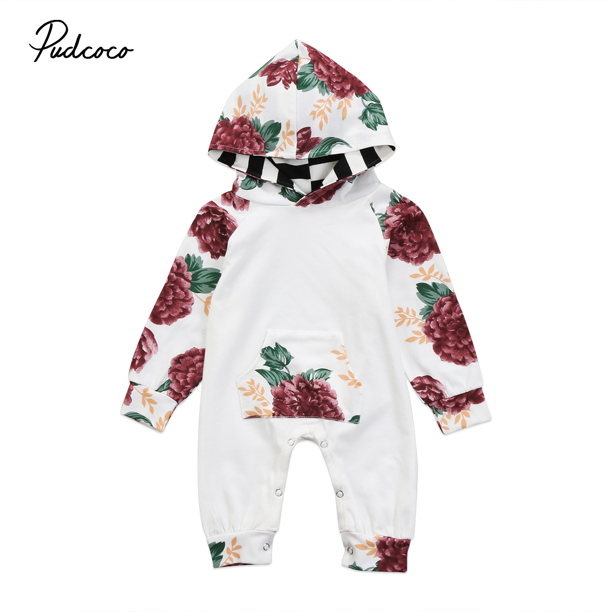 Flower Baby Colthing Newborn Baby Girl Floral Long sleeve Clothes Hooded Hoodies Romper Jumpsuit Baby Home Outfits 0-2T