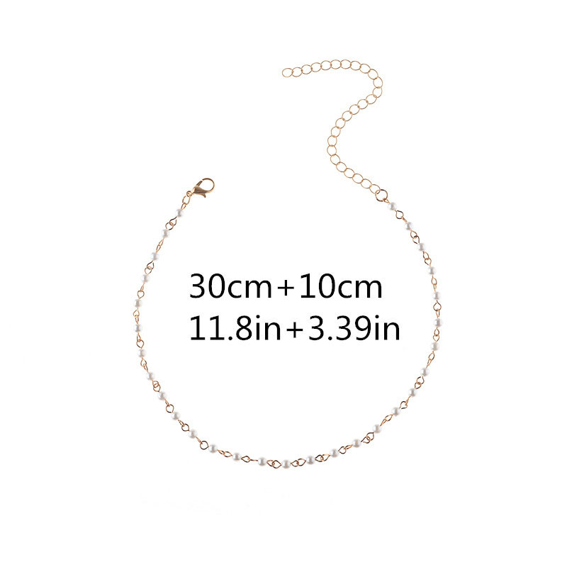 2Pcs Fashion Necklace Pearl Jewelry Natural Freshwater Pearl White Choker Necklace For Women #240923