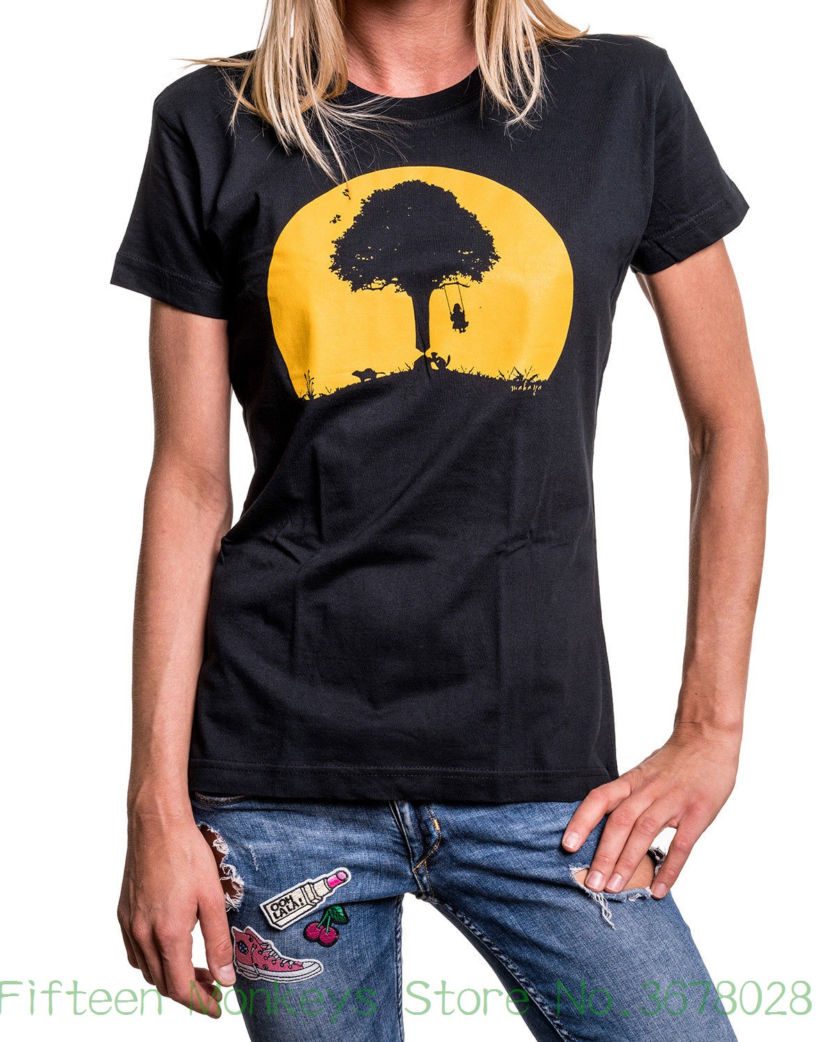 Women's Tee Funny Womens Shirt With Vintage Swing Graphic Design - Top Girl Tee Black S M L Funny Clothe Tee Shirt