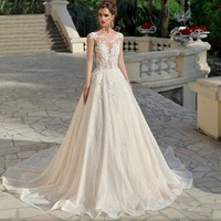 Luxury Bridal Gowns 3 D Lace Flowers robe de mariage Illusion Back With Buttons Wedding Dress 2019 Boho Wedding Dresses