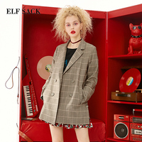 ELF SACK New Cotton Blazers Women Suit Coat Casual Plaid Double Breasted Notched Woman Coat Office Lady Blazers Female Blazers
