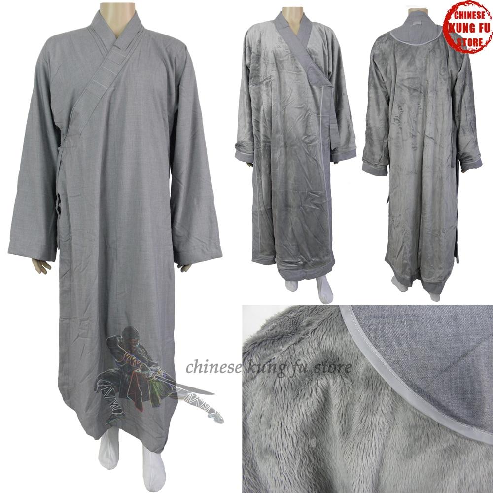 Top Quality Shaolin Monk Winter Dress Kung Fu Suit Martial Arts Uniform Buddhist Long Robes