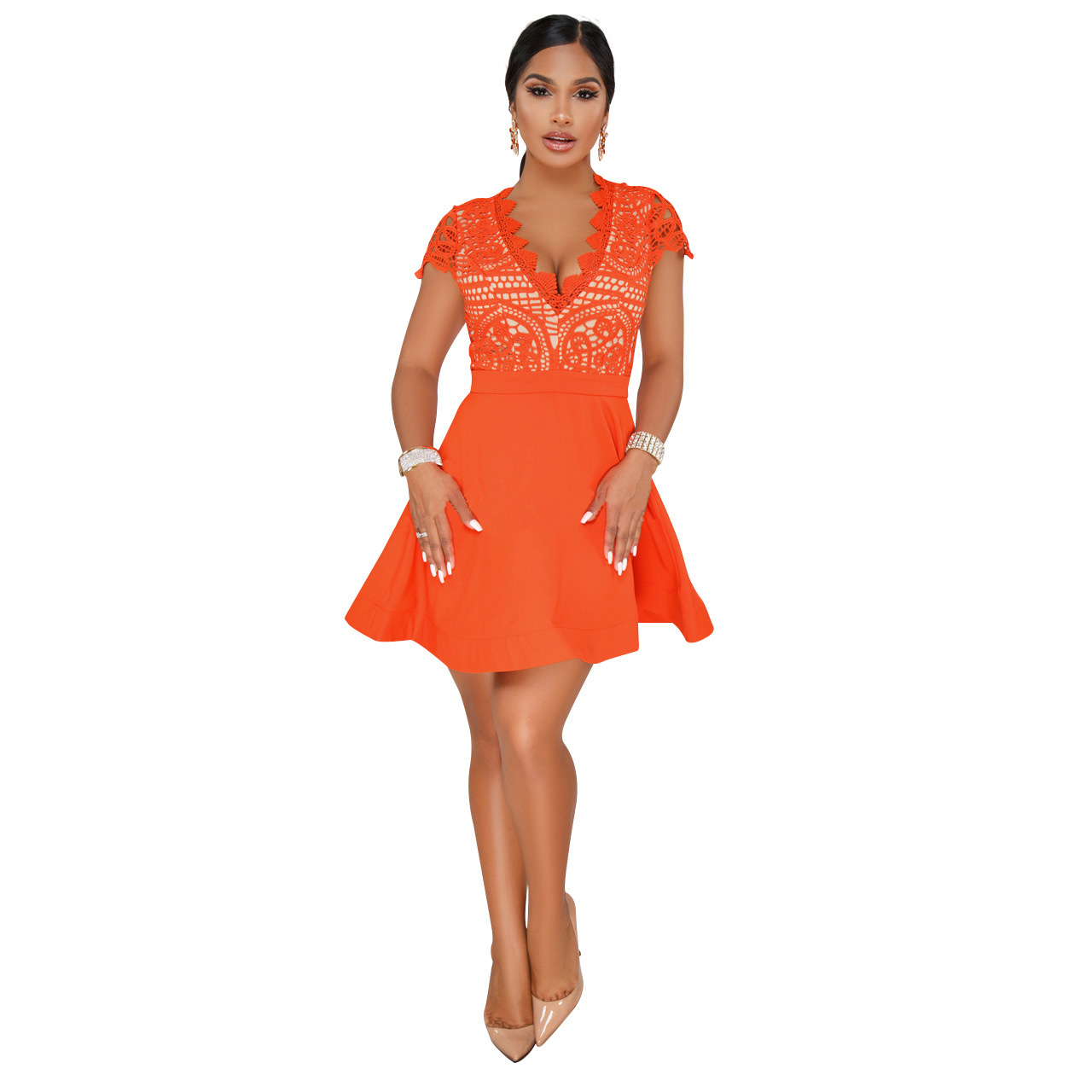 Bright Orange Casual Mini Skater Dress Summer Hollow Out Lace Patchwork Dresses 2018 Short Sleeve Deep V Neck Sexy Chiffon Dress