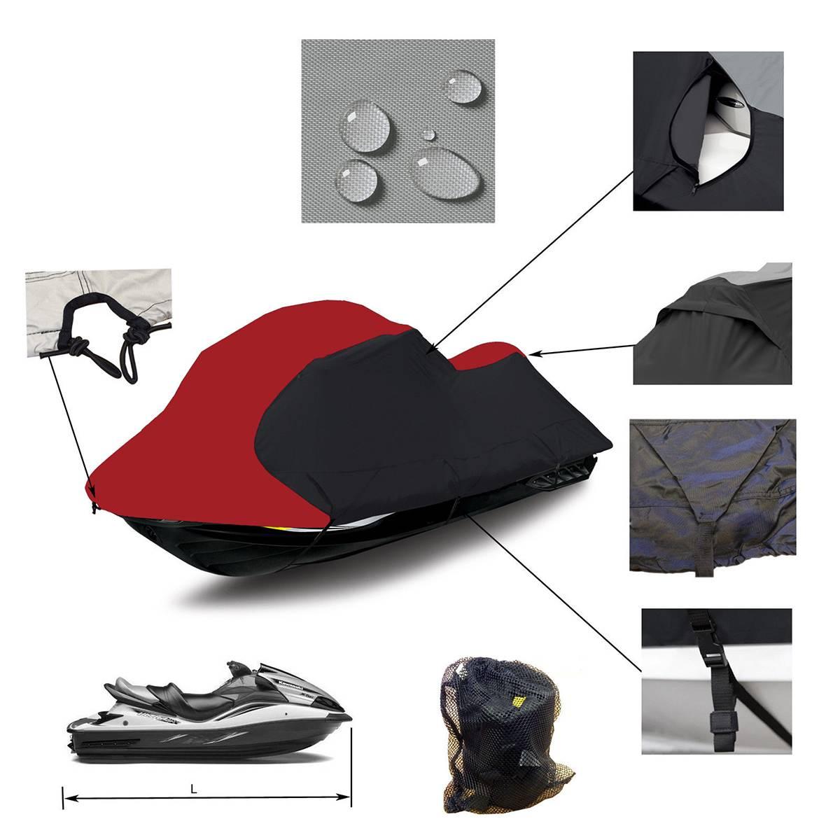 294-342 cm et 348-356 cm de longueur avec sac 600D Polyester Solution teinte imperméable couverture de bateau adapté pour universel 3 personnes PWC Jet Ski
