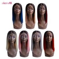 Ombre 613 синтетические волосы на кружеве человеческие волосы Искусственные парики бразильский прямые волосы Remy боб парик красные, сини