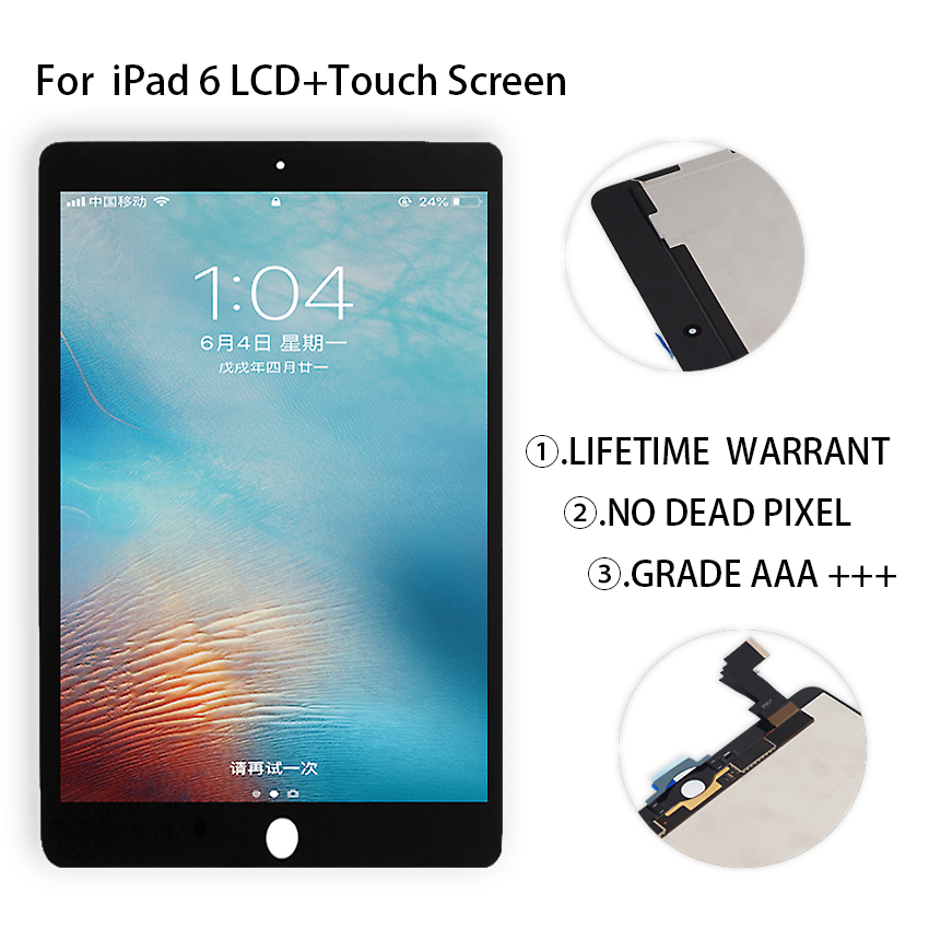 цена на Original For iPad 6 Lcd Display Touch Screen Digitizer Panel Assembly Replacement For iPad Air 2 Display Tablet LCDs Free