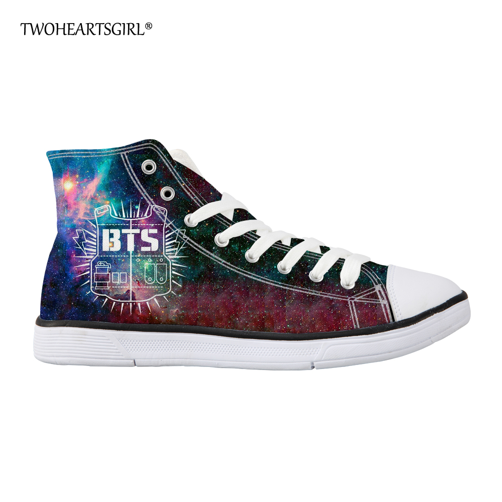 High Top BTS Canvas Shoes for Women Kpop Casual Teen Girls Vulcanized Shoes  Classic Lace Up Flat Canvas Shoes d566c172c529