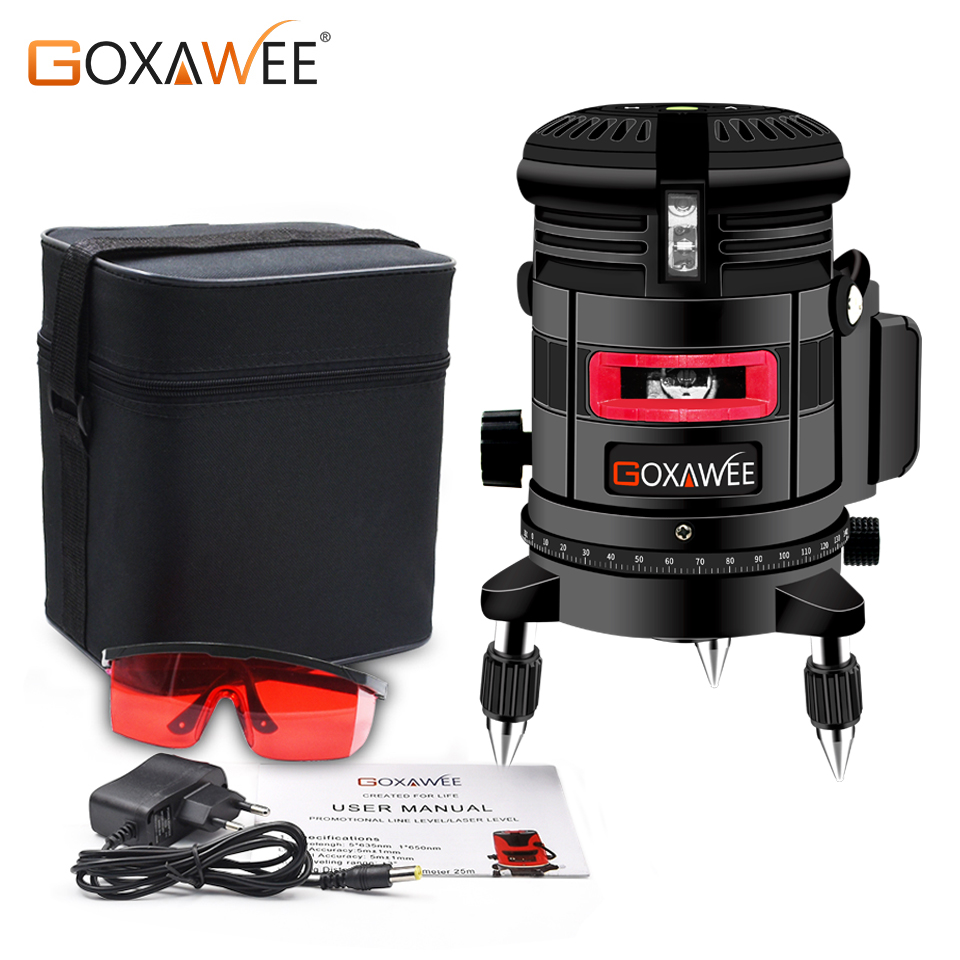 GOXAWEE Laser Level 5 Lines 6 Points Self Leveling 360 Horizontal Vertical Line With Tilt & Outdoor Construction Measuring Tool