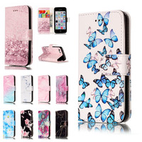 For IPhone 5C Coque Cases For Apple IPhon 5C Cover Etui Granite Marble Texture Pink Wallet