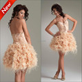 Top Selling 2015 Vestido De Festa Cheap Sweetheart Champagne Feather Mini Backless Cocktail Dress Prom Party Dresses