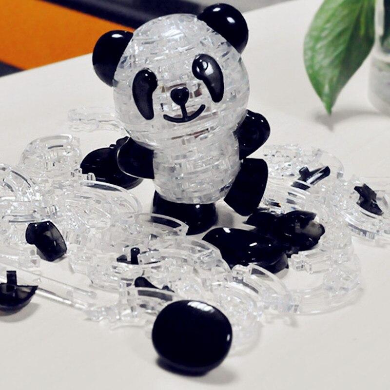 3D Crystal Panda Puzzle juguete DIY Aniaml Panda ensamblado modelo rompecabezas intelectual cumpleaños Año nuevo regalo de juguete para niños 3D puzle bebé juguetes de madera juguetes educativos para primera infancia atrapa gusano juego de Color de fresa capacitativa capacidad de agarre divertido