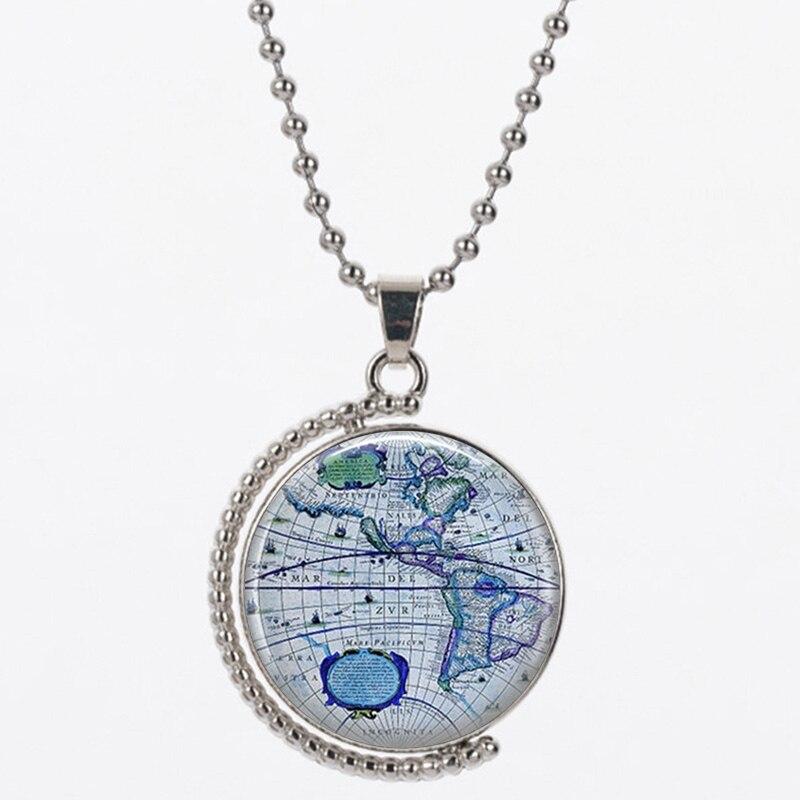 CHB6 blau farbe Hand-gemalt navigations karte 25mm größe frauen 925 silber 45 cm kette senden mit tasche für frauen geburtstag geschenk