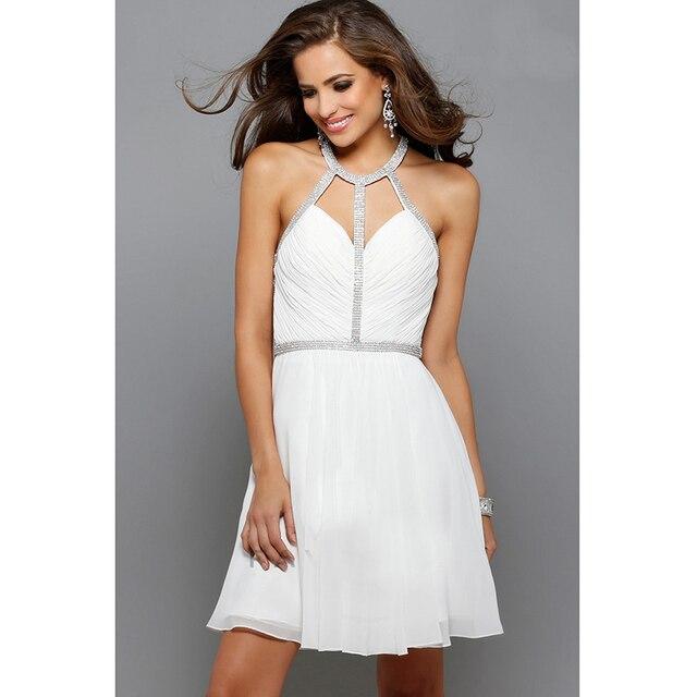 Aliexpress.com : Buy Sexy White Cocktail Dresses Halter Neckline ...
