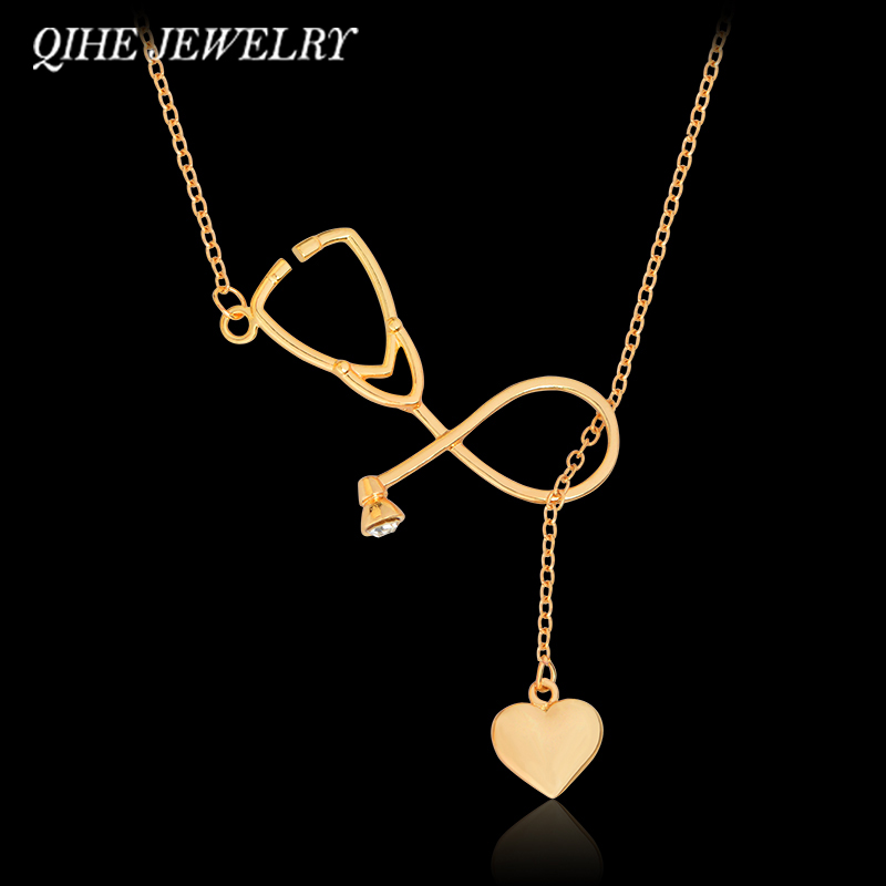 QIHE JEWELRY Алтын күміс 2 Түсті медбике Heart Stetoscope Ожерелья Nursing Jewelry Medicine Graduation Gift