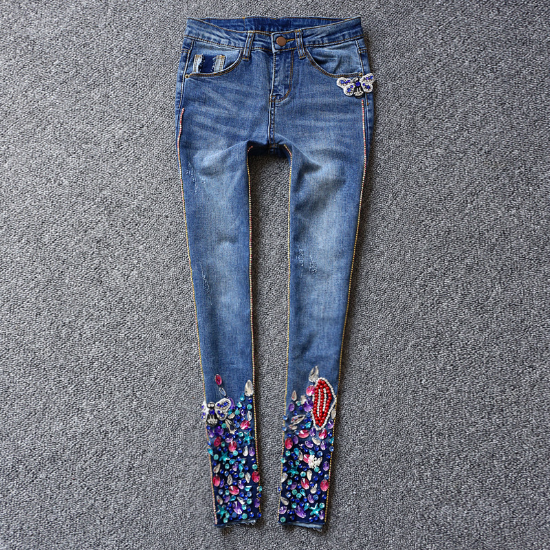 2017 Spring New Fashion Colorfull Diamond Jeans Woman Mid Waist Bleached Blue Long Denim Trouses Boyfriend Jeans Pants For Women