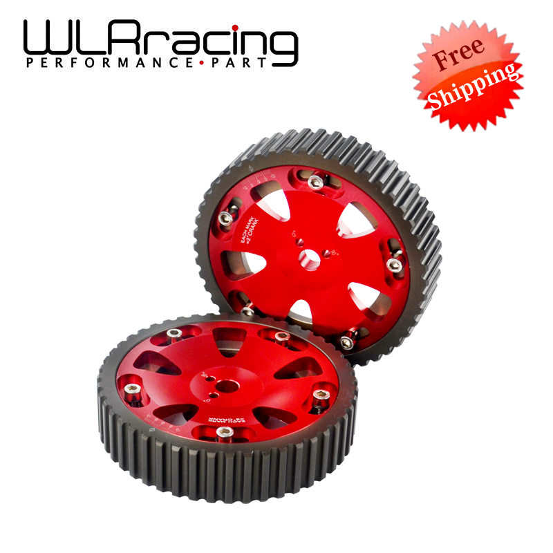 WLR RACING - FREE SHIPPING 2pcs Cam Gears Pulley For MITSUBISHI EVO 1 2 3 4 5 6 7 8 9 ECLIPSE 4G63 RED WLR6538R vr racing hnbr racing timing belt aluminum cam gear clear cam cover for mitsubishi lancer evolution evo 9 ix mivec 4g63