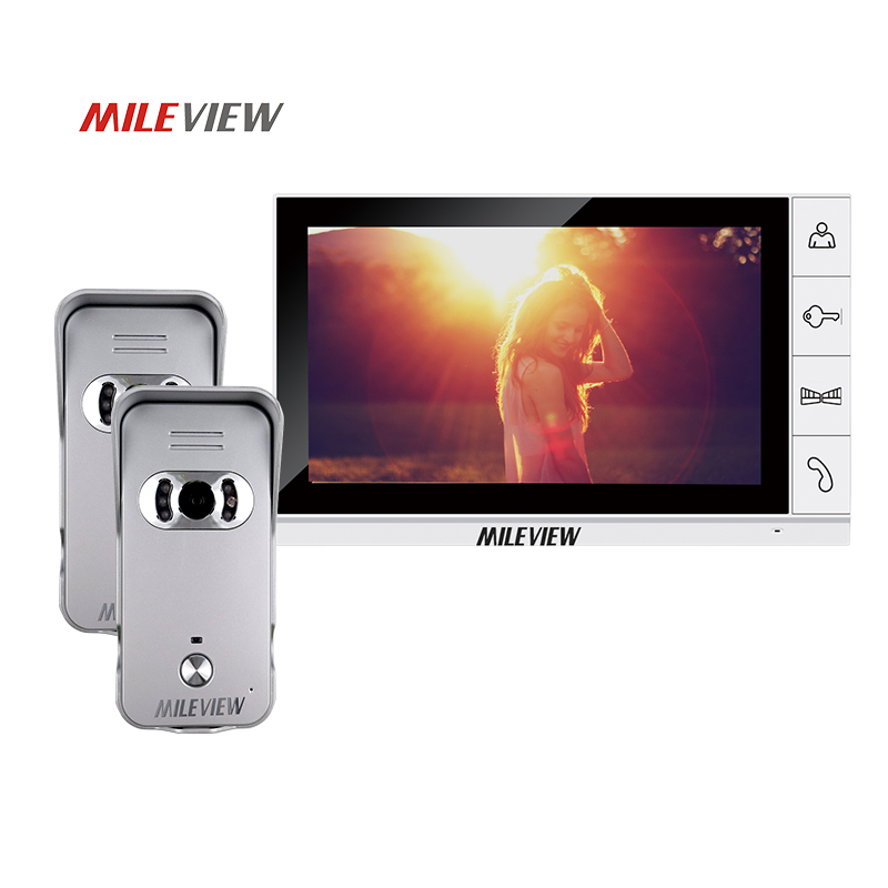 Brand New Wired 9 inch TFT White Screen Video Door Phone Intercom Kit Set With Two Night Vision Outdoor Camera Free Shipping free shipping wired new 9 inch tft lcd monitor video door phone intercom system with 1 night vision outdoor camera in stock