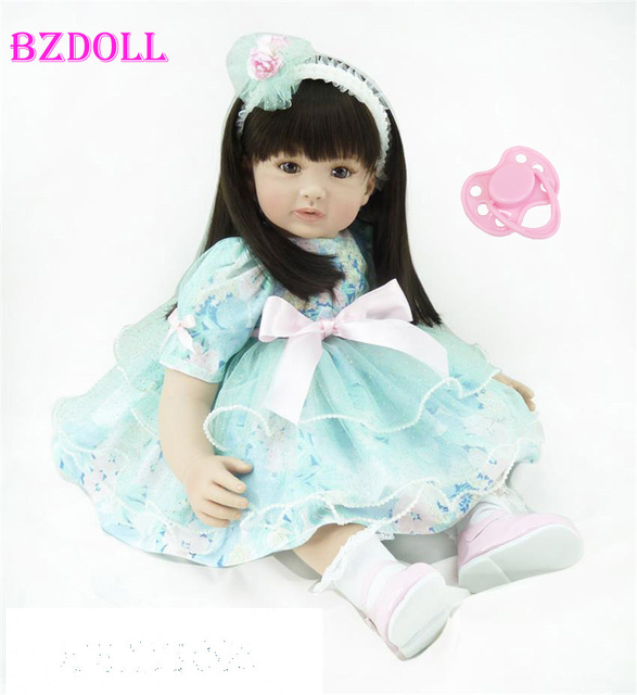 60cm Silicone Vinyl Reborn Like Real Baby Doll Toy 24inch Princess Toddler Girl Babies Doll Birthday