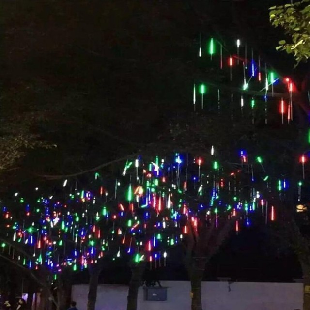 """50 ס""""מ ססגוניות עמיד למים מטאור מקלחת גשם צינורות Led אור מנורת 240 v Plug חג מולד אור חתונת גן קישוט חג המולד"""